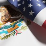 Bandera de Mexico y EU en unión